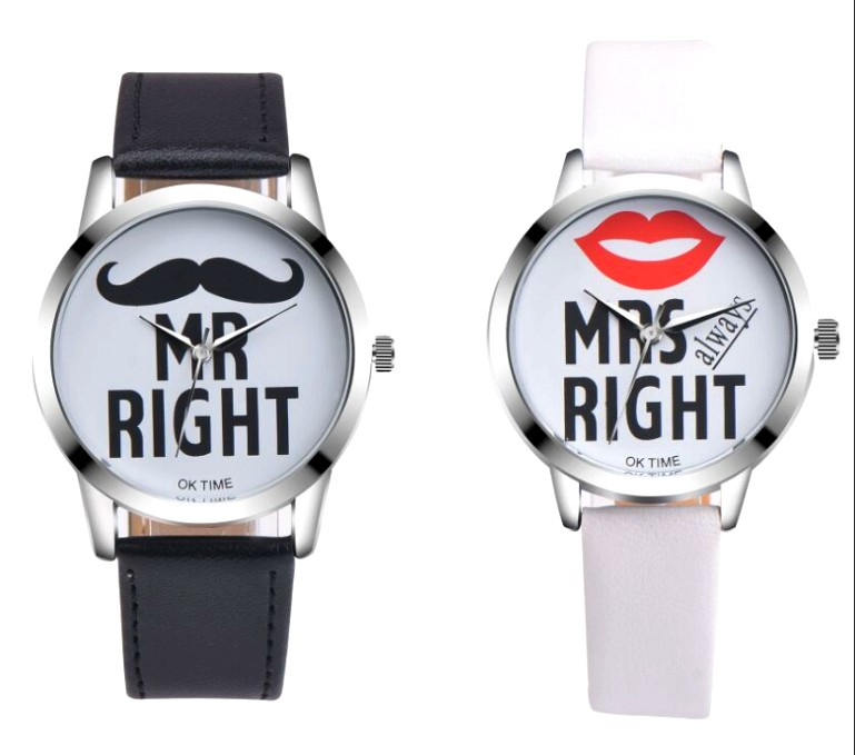 2018 MR&MRS Couple Watches Men/Women Watches Leather Watch Dress Casual Beard Lipstick Dress Quartz Wristwatch Special Gifts