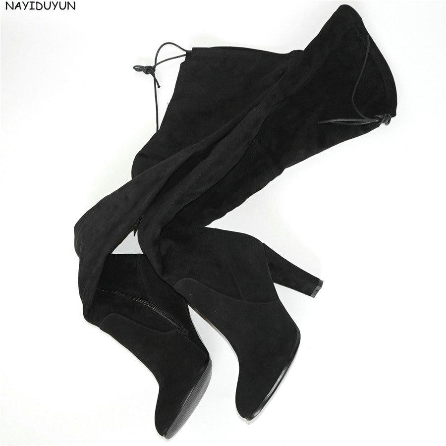 NAYIDUYUN Moda Kofshë të Këpucëve të larta, Womenizmet e Grave Suede Lëkurë Këmbë këmbësh Mbi çizmet e gjurit