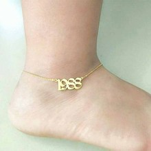 Foot Jewelry Silver Gold Filled Custom Old English Number Anklet Bracelet Year Stainless Steel