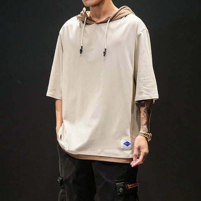 Cotton Half Sleeve T-shirt Men Large Size Solid Color Summer Hooded T-Shirt Male Slim Fit Casual Comfortable Streetwear T shirt 4