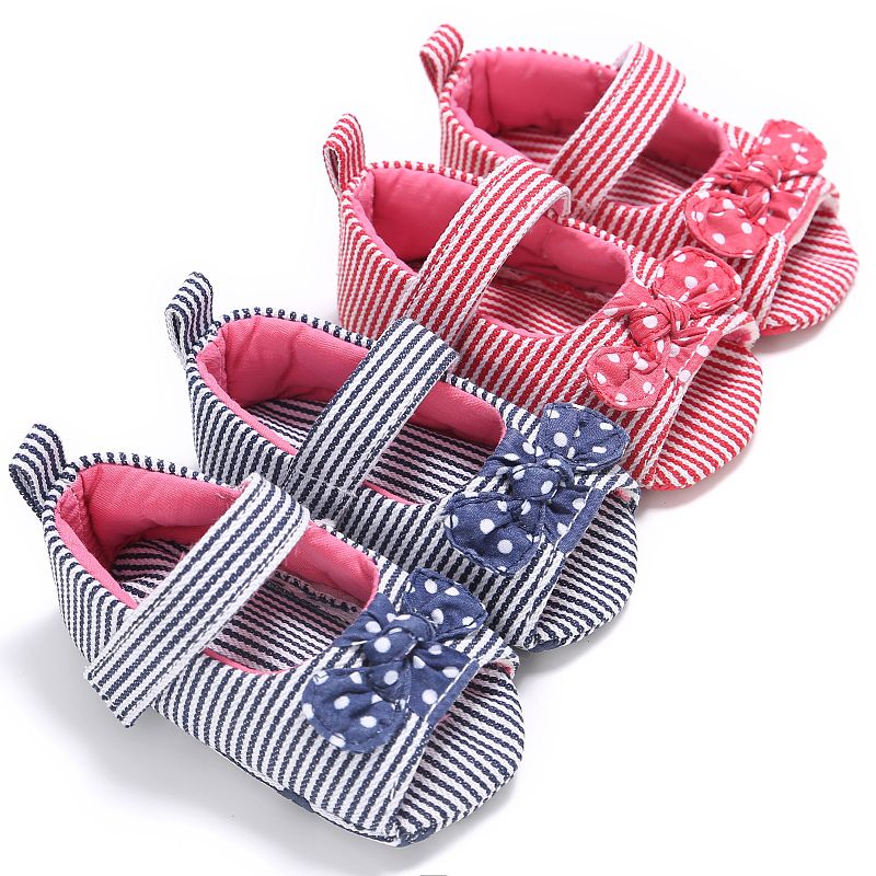 Cute Baby Grils Autumn Kids Princess Stripe Bow-knot Anti-skid Cack First Walkers Kids Shoes