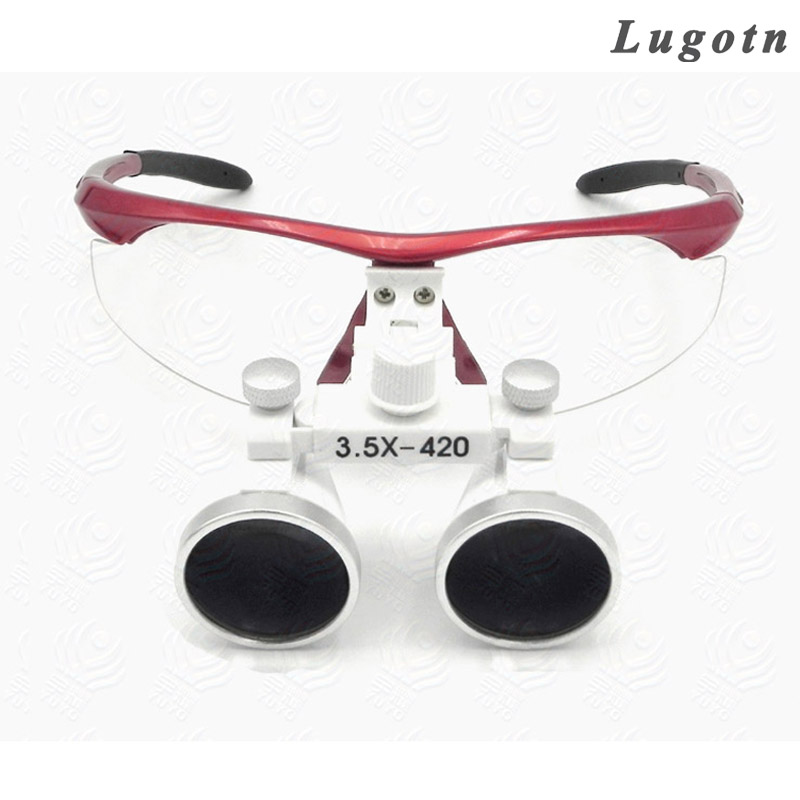 3.5X magnifiying surgical loupe adjustable size red color good quality Galileo optical glasses dental dentist magnifier jakob buhrer galileo galilei