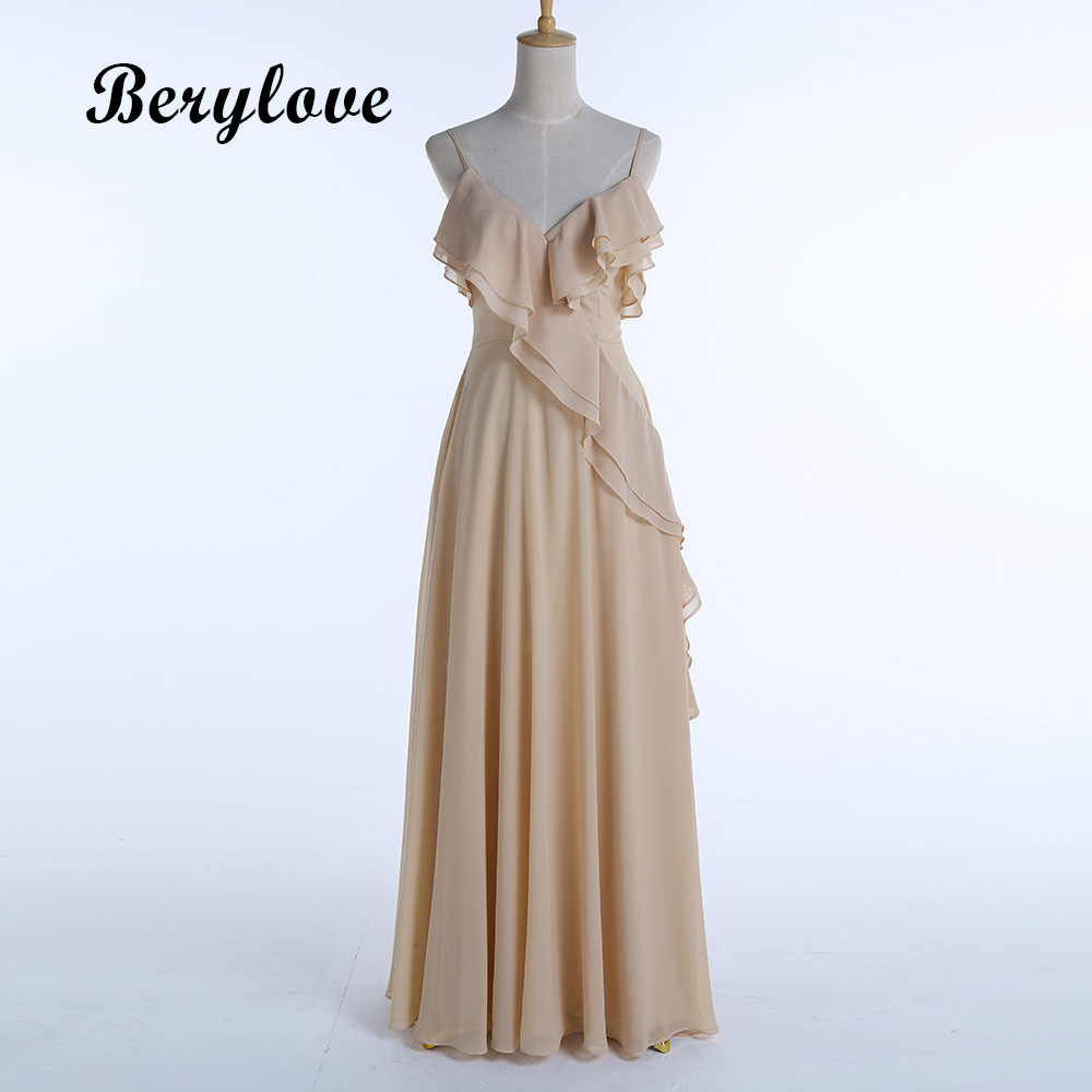 BeryLove Long Champagne Evening Dresses 2018 Spaghetti Straps ...