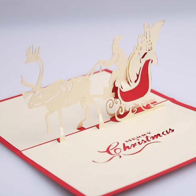Heißer Verkauf 3D Pop Up Santa Pferdeschlitten Grußkarte Frohe ...