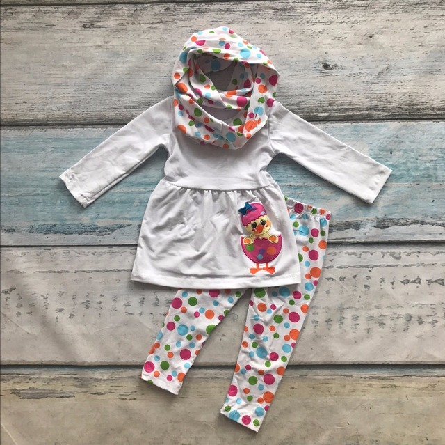 new arrival Easter day cotton girls baby kids clothes scarf 3-pieces outfits cotton Spring chick print polka dot  boutique