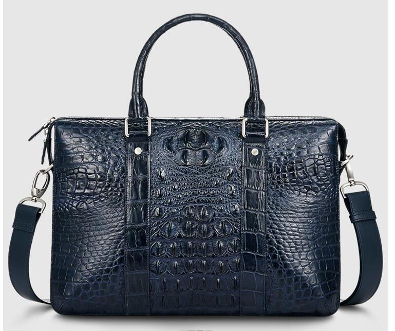 2018 Fashion Men's Genuine/Real 100% Crocodile Skin Briefcase Laptop Bag, Crocodile Skin Business Men Bag Blue Color