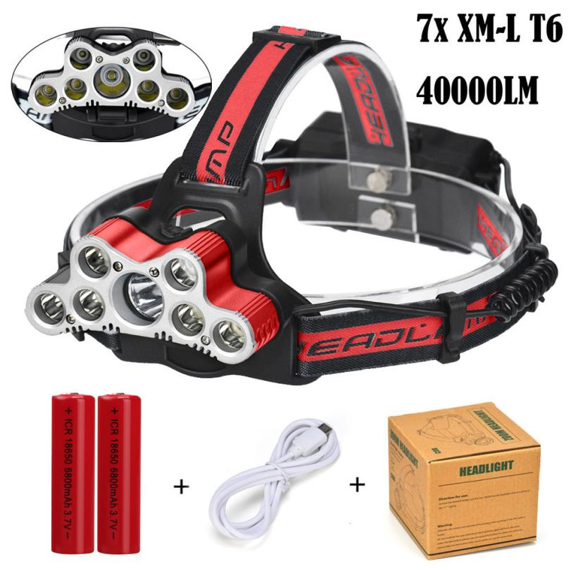 40000 LM 7X XM-L T6 LED Rechargeable Headlamp Headlight Travel Head Torch 6 modes Waterproofing Bike Bicycle Cycling Light P5 cycling 9000lm 6x xm l t6 led head front bicycle light bike lamp headlamp torch
