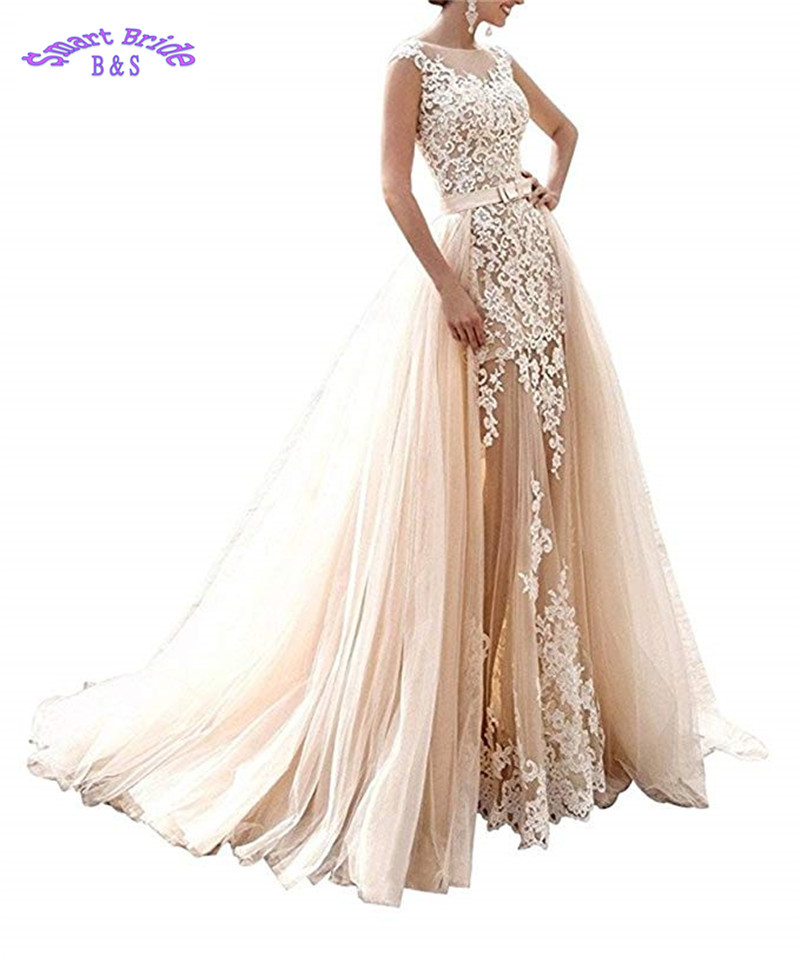Champagne Lace Wedding Dresses 2019 A-line Sheer Tulle Applique Over Skirts Bow Sash Wedding Bridal Gowns Vestido De Noiva Wdv2 Commodities Are Available Without Restriction Back To Search Resultsweddings & Events