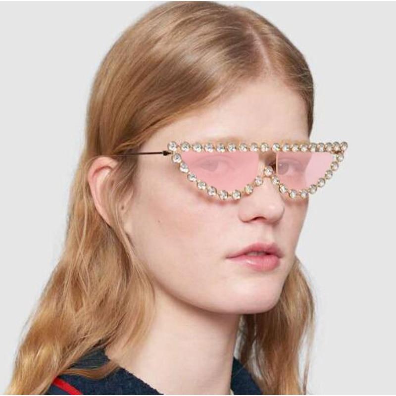 Flache Top Diamant Cat Eye Sonnenbrille Trend Frauen Sonnenbrille Marke Designer Luxus Weibliche 2018 Neue Sexy Kristall Brillen UV400