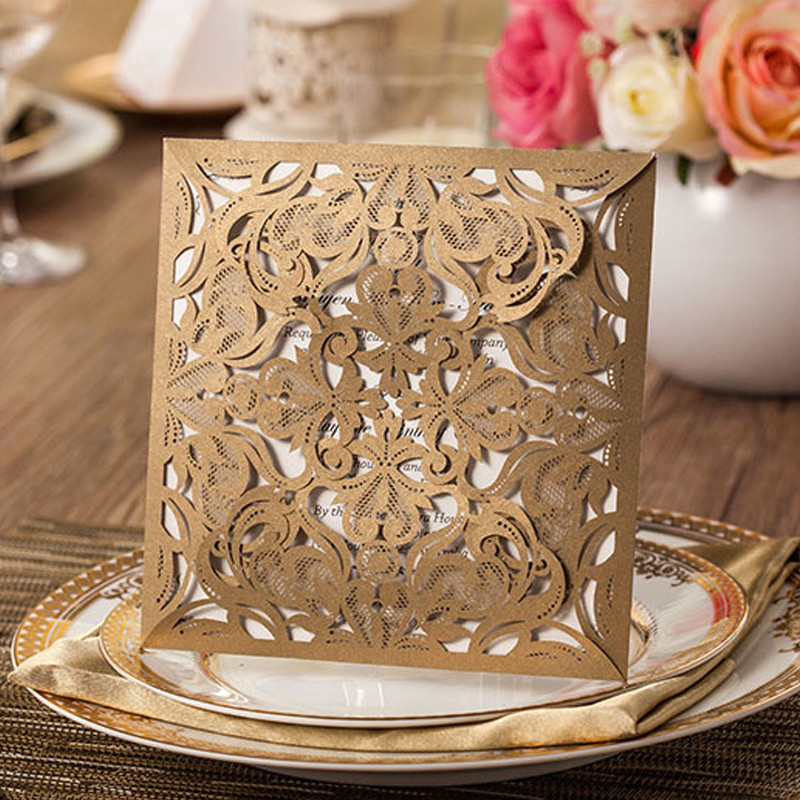 1pcs Sample Gold White Black Laser Cut Rose Flora Wedding Invitations Card Elegant Lace Envelopes & Seals Event & Party Supplies