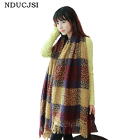 Winter Mujer Scarves Super Thicken Women Wraps Mohair Bufandas Khaki Plaid Feminina Warm Fashion Casual Fleece