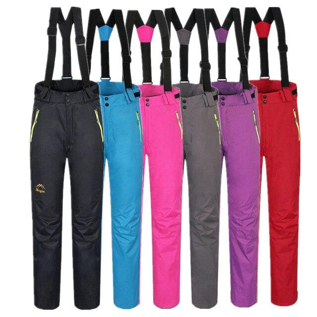 6 couleurs femmes Sports de plein air ski neige bavoir pantalon Snowboard pantalon bretelles détachables vêtements solide Snowboard pantalon