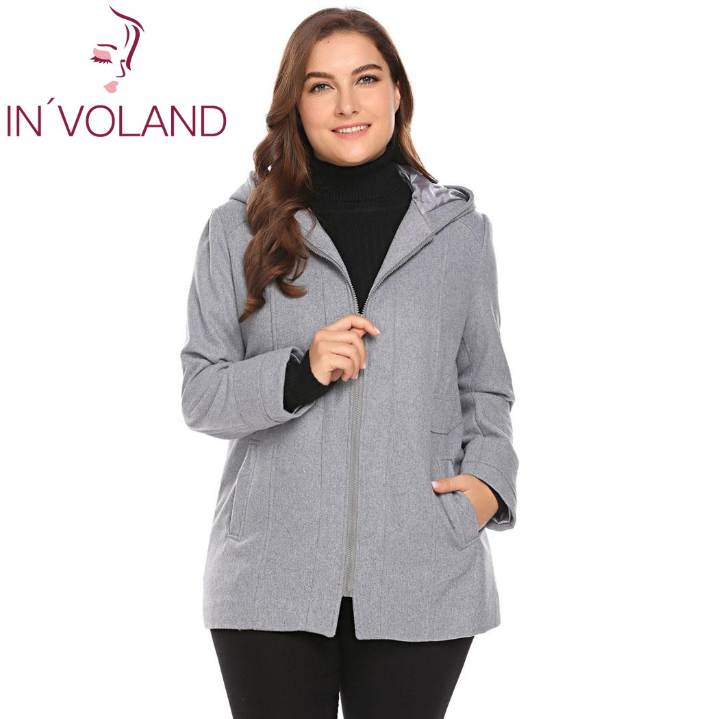 IN'VOLAND Plus Size Women Wool Blend Coat L-5XL Warm Winter Hooded Solid Long Sleeve Zip-up Slim Lagre Overcoat Jacket Big Size