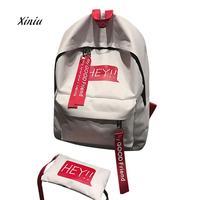 2 Sets Backpack Women Unisex Canvas Print Two Set Double Shoulder Bag Backpack Zipper Bag For Teenage Girls School Bag
