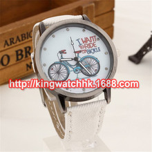 DHL free 100pcs/lot,lLaides Women's Fashion Bike Bronze Jean Fabric Band Quartz Analog Wrist Watch