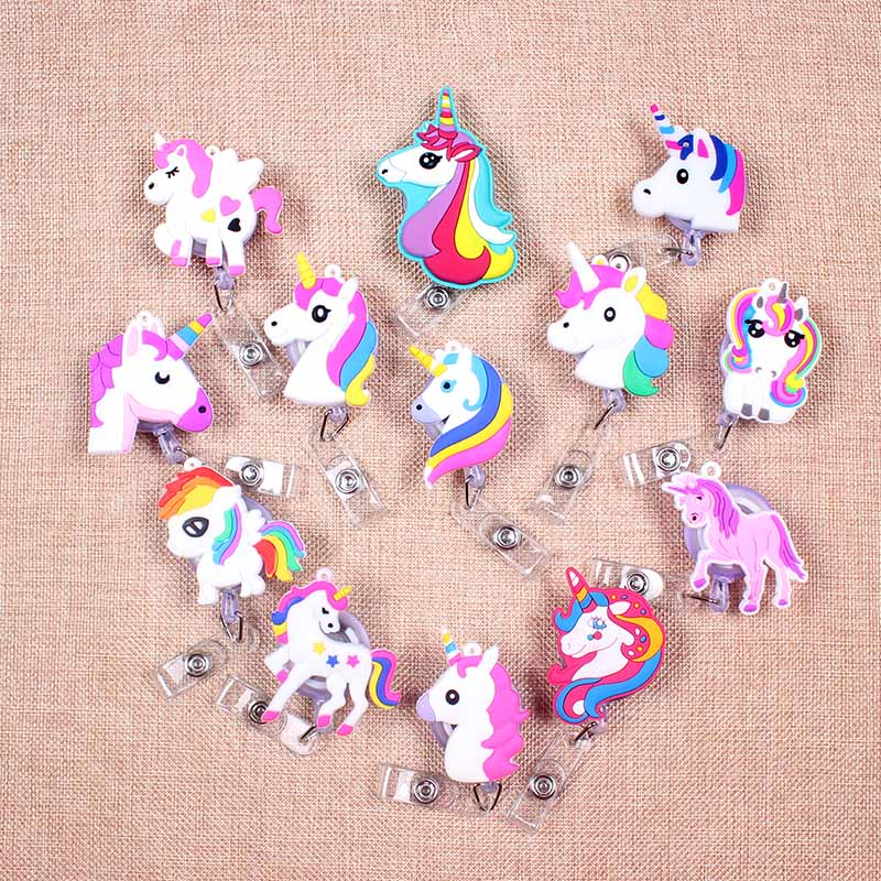 13Colors Unicorns Retractable Badge Reel Student Nurse Horizontal Type Exhibition ID Name Card Badge Holder Office Supplies