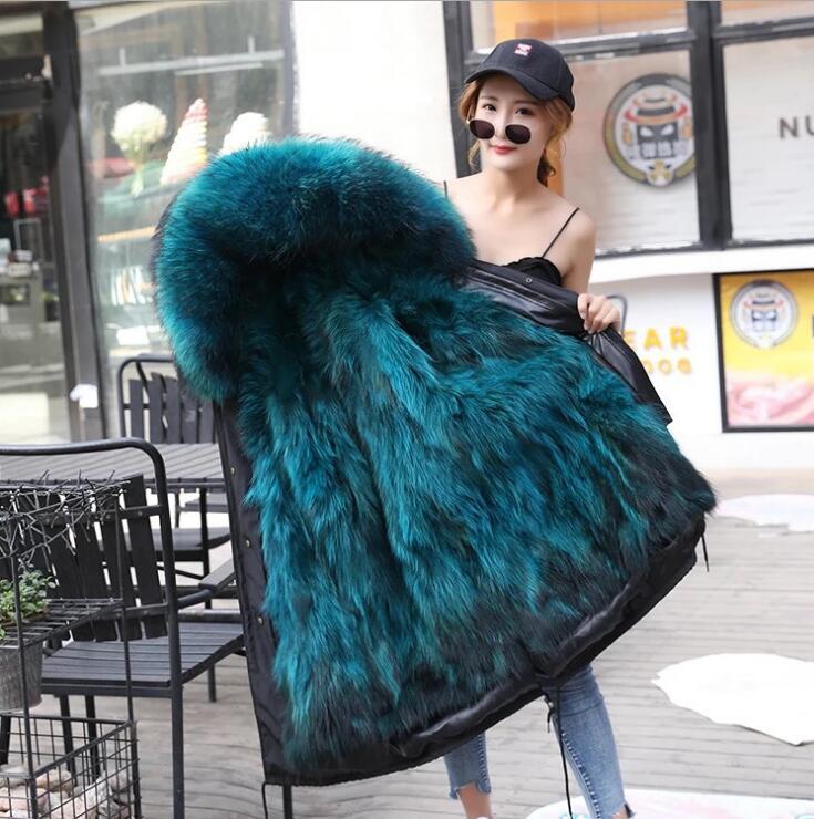 New Winter Women Genuine Natural Fur Parka Coat