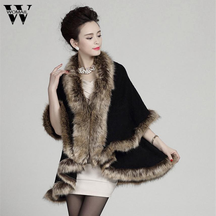 New Winter High Fashion Women Faux Fur Collar Coat Slim Fit Suede Faux Long Outerwear Parkas Poncho Cape Stole Wrap Coat N17