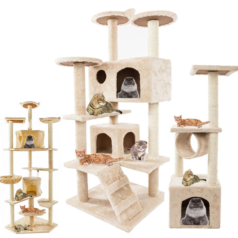 Pet Luxury Furniture Cat Tower 36-80 Inches Pet Cat Tree Towers Climbing Shelf Cats Apartment Game Habitat Cats Tower Condo Toy