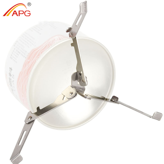 APG Camping Gas Tank Dual-purpose Folding Bracket Bottle Shelf Stand Stainless Steel Tripod Canister Stand For Cooking Gas Stove