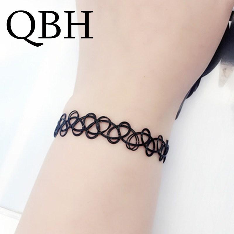 L125 Bijoux Vintage Gothic Fashion Black Tattoo Hollow Bangle For Women Charm Bracelets Wedding Jewelry Punk Statement Elastic Сникеры