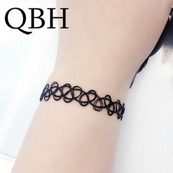 SL125 Bijoux Vintage Gothic Fashion Black Tattoo Hollow Bangle For Women Charm Bracelets Wedding Jewelry Punk Statement Elastic римские сандали