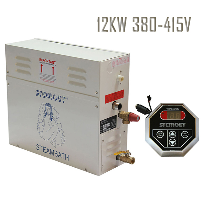 Spedizione gratuita Ecnomic tipo 12KW 380-415 V Generatore di Vapore Doccia Multi-funzionale Sauna Casa Spa Steamer vapore accessori