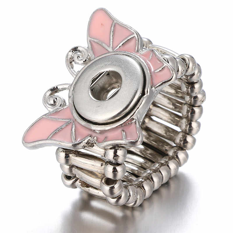 Pink Butterfly Adjustable Snap Button Rings Fit 12mm Snap Button Jewelry For Women Friend Girl DIY Accessories