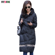 High Quality Fashion Black stitching White Duck Down Women Parka Winter coat Thick Hoody Winter Down Coat Female Parkas Long