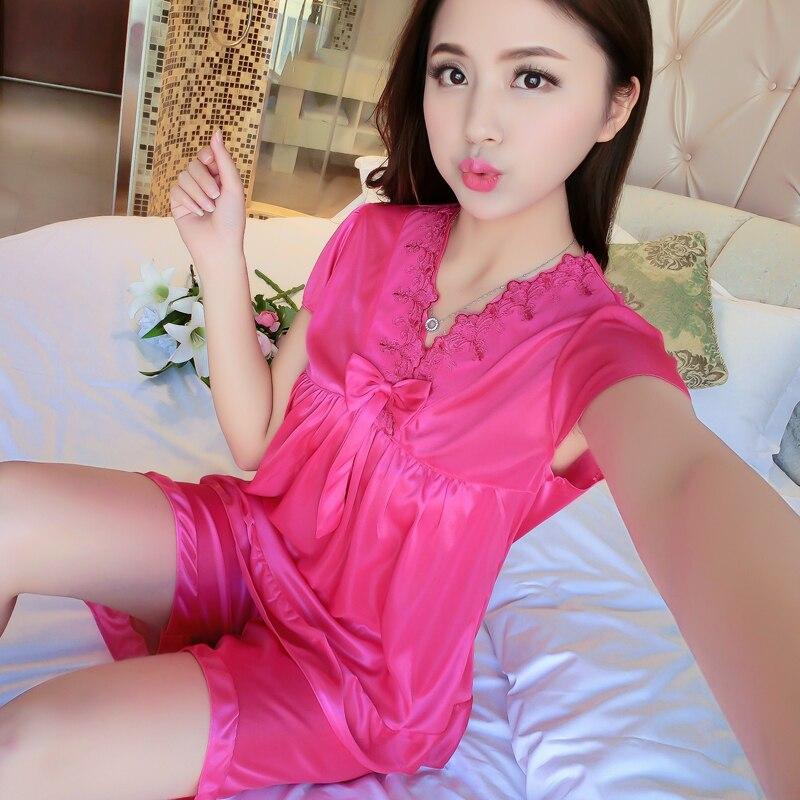 Young Girl   Pajama     Sets   WAVMIT 2018 Spring Summer Pyjamas Women Satit Pattern   Pajamas     Set   Ice Silk Girl Pijama Mujer Sleepwear