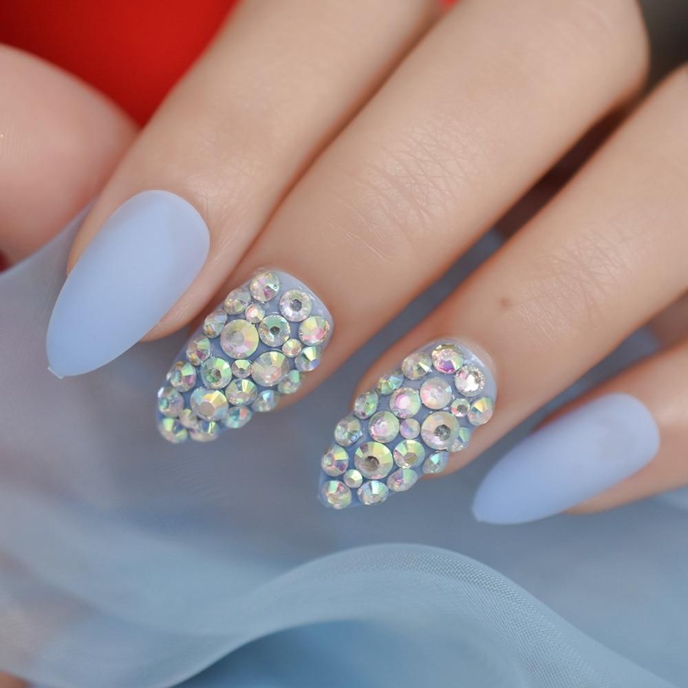 3d Glitter Stiletto Matte Almond False Nail Finger Tips Magic Ab