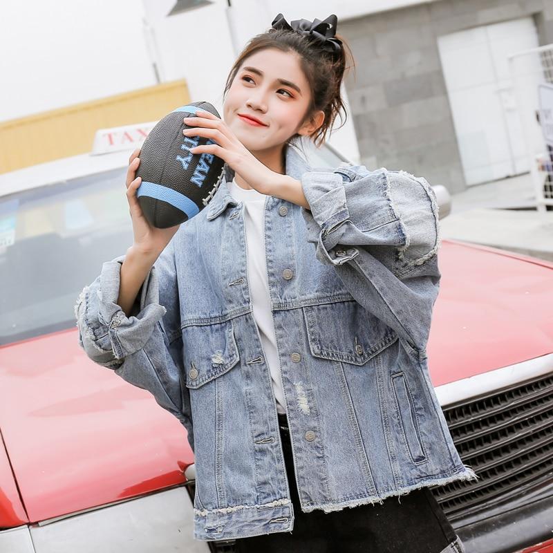 Picture Veste Harajuku Color Manteau Denim Femmes Chaud Hiver 2018 Large Longues Avec Jeans Kpop Automne Outwear Poches Nouveau Manches Printemps UadxwHTnq