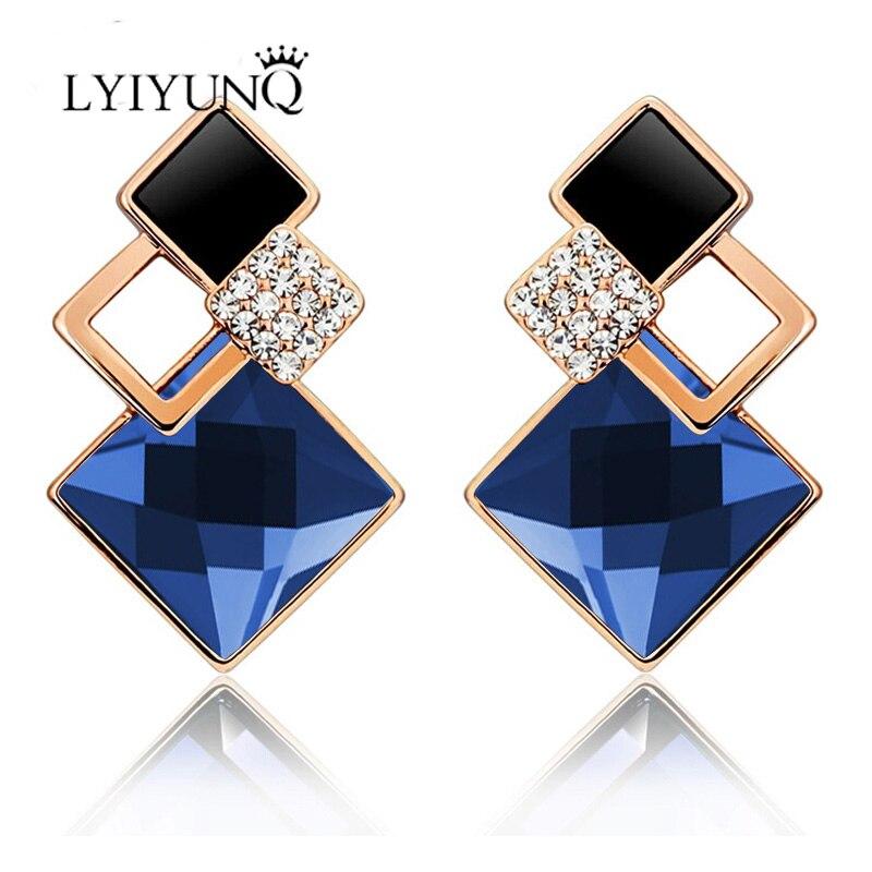 LYIYUNQ znani čisto nov modni brincov poročni nakit velik modri - Modni nakit - Fotografija 6