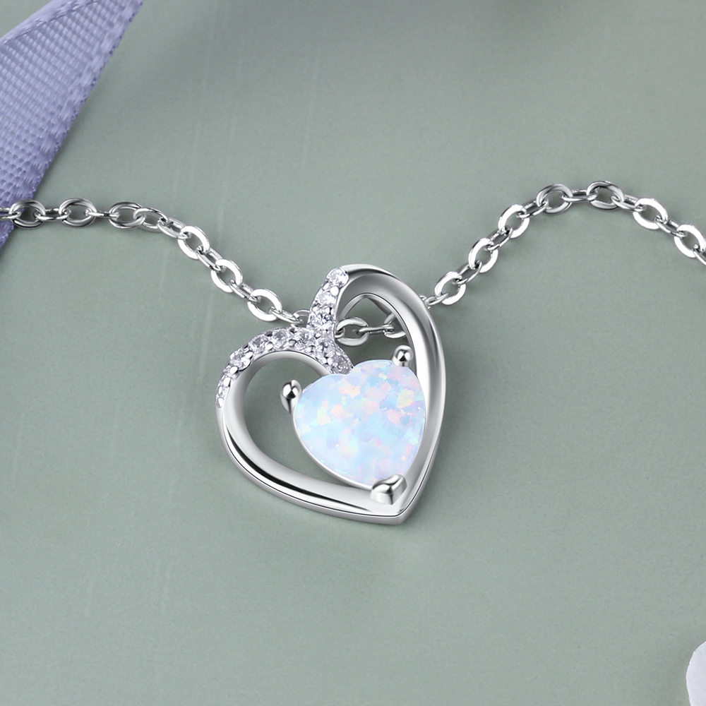 925 Sterling Silver Heart Necklaces for Women Romantic Love White Opal Necklace Mother 39 s day Anniversary Gift Lam Hub Fong in Necklaces from Jewelry amp Accessories