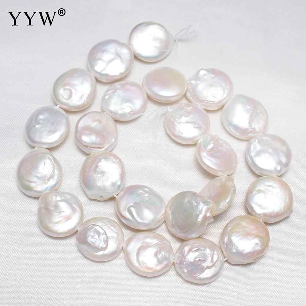 Cultured Coin Freshwater Pearl Beads Flat Round Natural 15-16mm Baroque Bead for Bracelet DIY Necklace Jewelry Making Strand 16""