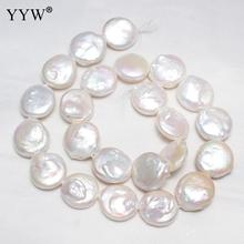 Cultured Coin Freshwater Pearl Beads Flat Round Natural 15-16mm Baroque Bead for Bracelet DIY Necklace Jewelry Making Strand 16