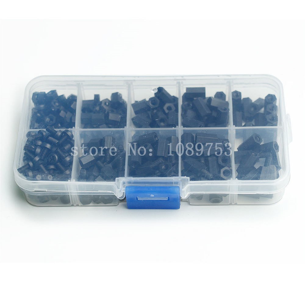 300Pcs M3 Nylon Black M-F Hex Spacers Screw Nut Stand-off Assortment Kit Set Box