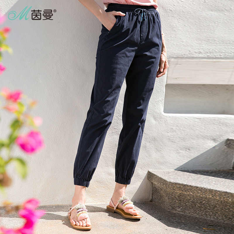 INMAN 2019 NEW Arrival Summer All-match Elastic Waist Casual Pants Beam Foot Trousers Female