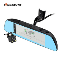 """TOPSOURCE New 7"""" Special 3G Mirror Rearview Car DVR Camera DVRs Android 5.0 With GPS Navigation Automoblie Video Recorder"""