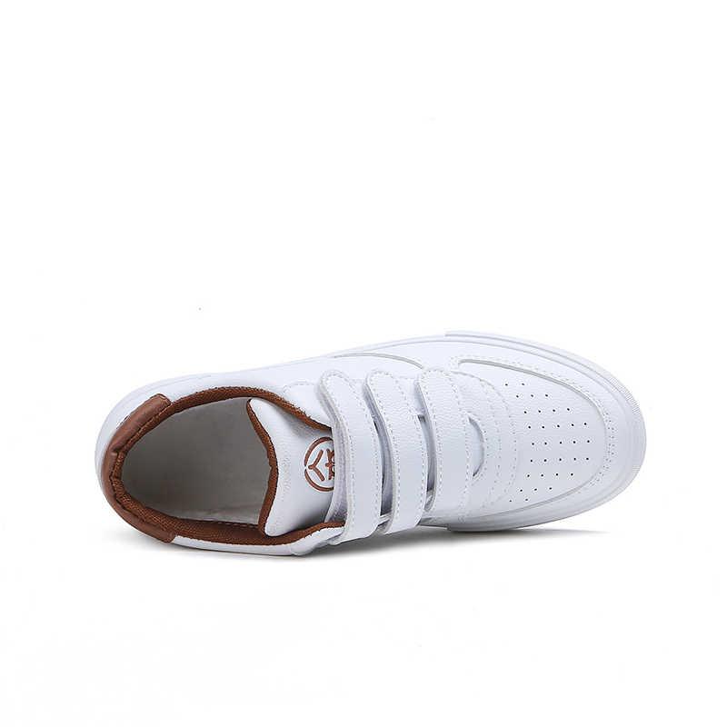 RENBEN 2018 אופנה מזדמן עור נעלי אישה עור מפוצל לבן סניקרס שטוח עקבים פלטפורמת נעלי נשים Tenis Zapatos Mujer