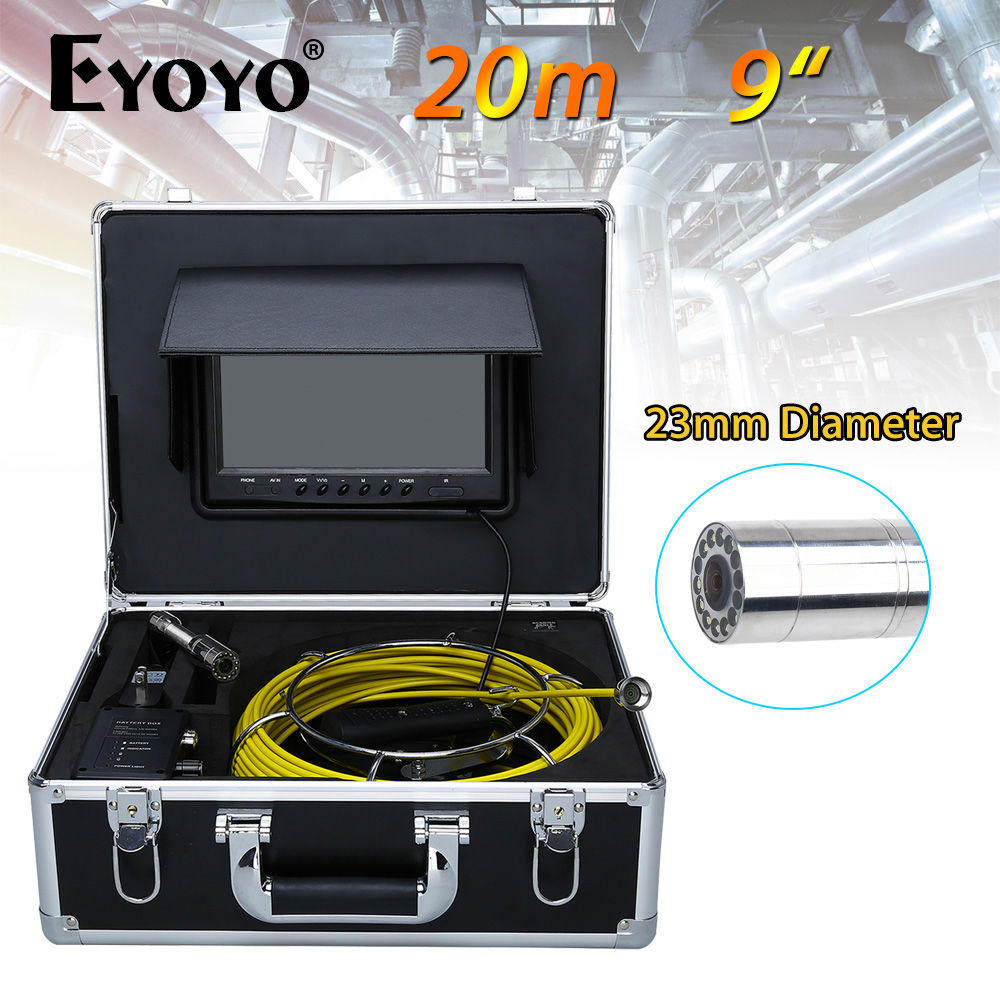 Eyoyo 9 HD 1000 TVL LCD 23mm Sewer Pipe Camera Pipeline Drain Inspection Camera 20M Snake Inspection Industrial Camera dhl free ap70 20m professional pipeline endoscope inspection camera 7lcd screen 6 5 17 23mm pipe drain sewer inspection camera