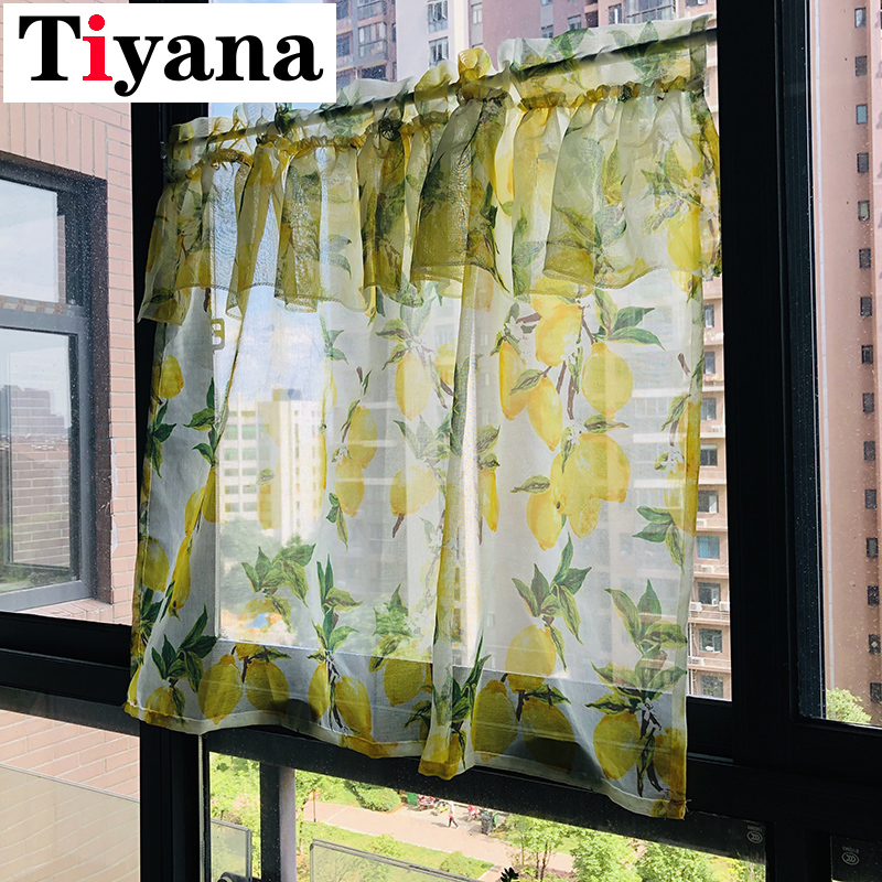 Tiyana Lemon Yellow Short Sheer Curtains For Living Room Kitchen Half Curtain Fruit Design Summer Door Cortinas Rideaux DP166X