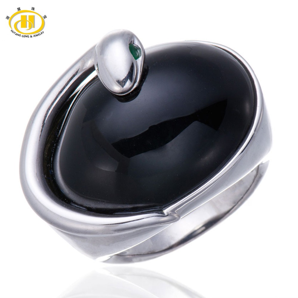 Hutang Natural Black Chalcedony Cabochon Emerald Gemstone Solid 925 Sterling Silver Snake Ring Fine Stone Jewelry New