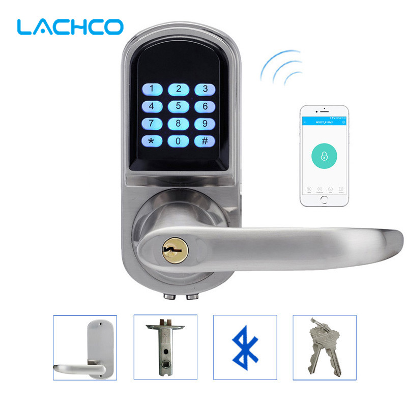 LACHCO умный телефон Bluetooth дверной замок с комбинированным атласным хромированным bluetooth-включенным кодом приложения Smart Entry Keyless L16071BSAP