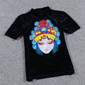 Summer T-shirt Women Casual Short Sleeved O-neck Fashion Blusa Ladies 2017 Harajuku Style Kawaii Embroidery Mask Velvet Tops
