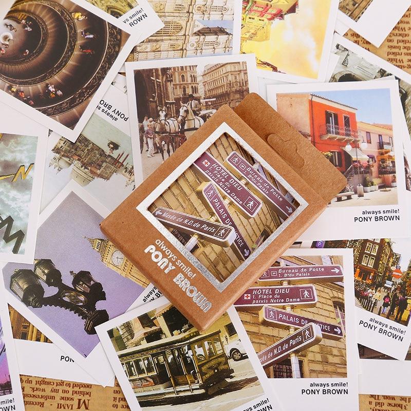 40 Pcs/lot Retro Lomo Europe Vista Mini Greeting Card Postcard Birthday Letter Envelope Gift Card Set Message Card