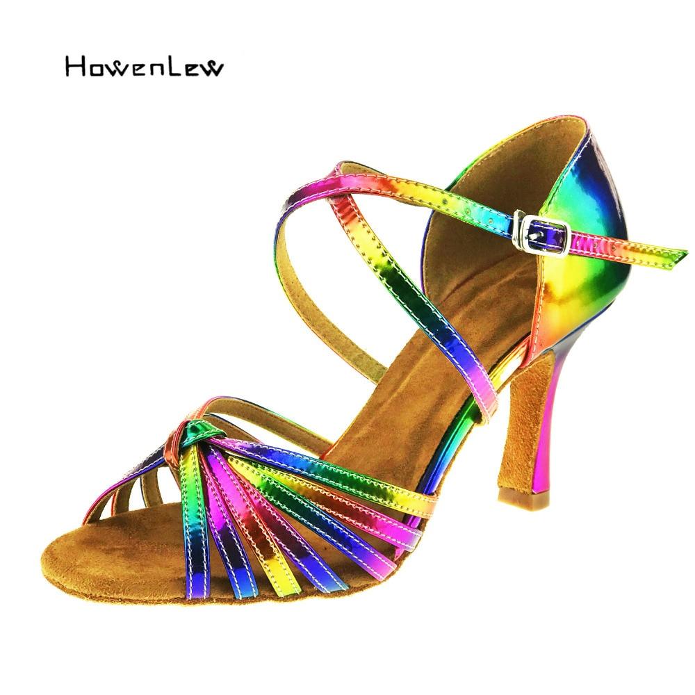 Free Shipping Latin salsa shoes lady dance Rainbow Color 2016 leather 8.3cm Heel Ballroom Latin Dance Shoes women цена