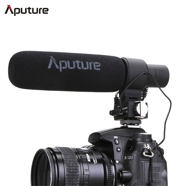 Aputure V-MIC D2 Sensitivity Adjustable Directional Condenser Shotgun Microphone Adjustable Sensitivity Camera Mic