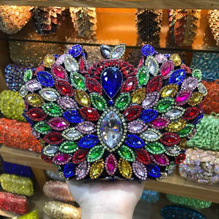 women blue Crystal Evening Bags colorful Clutch mini night purse lady day Clutches Bridal Wedding Handbags Purses Party Bag women colorful handbags crystal beaded day clutches ladies chain evening bags messenger bags clutch pouch purse wallets for lady