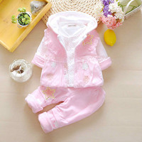 baby Clothing Sets Winter Girls Clothes Sets Print Kids Thicken Jacket Top Coat Pants 3pieces Full Sleeve Baby Clothes 4cs213